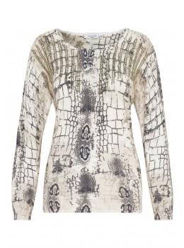 Femininer Pullover mit aufwändigem Alloverdruck