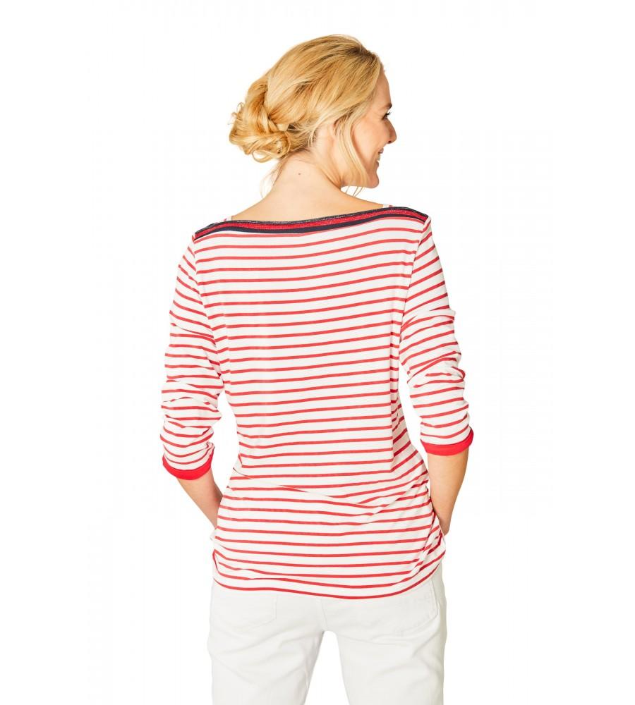 Feminines Shirt U-Boot-Ausschnitt Dreiviertelarm 18882-343 back
