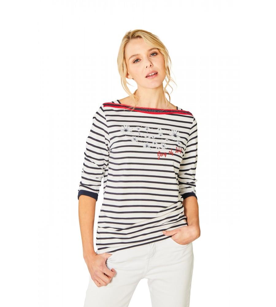 Feminines Shirt U-Boot-Ausschnitt Dreiviertelarm 18882-609 front