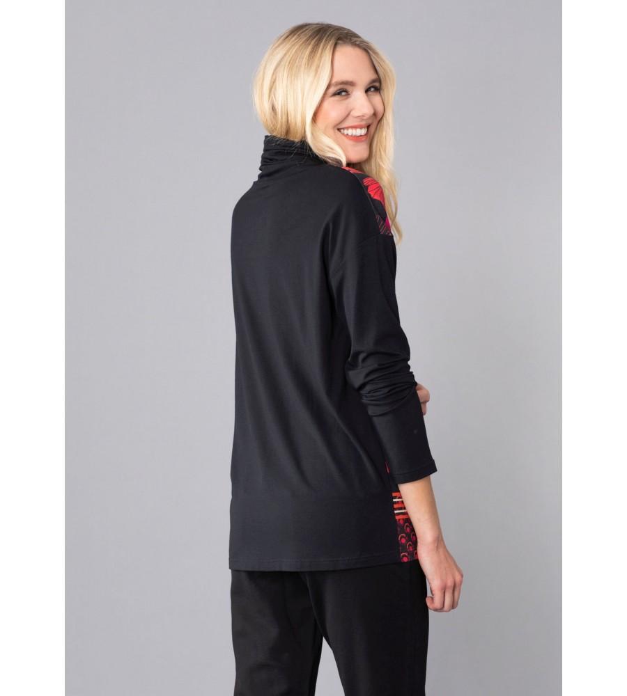 Shirt mit halsfernem Rollkragen und Zierbändern 18957-100 back