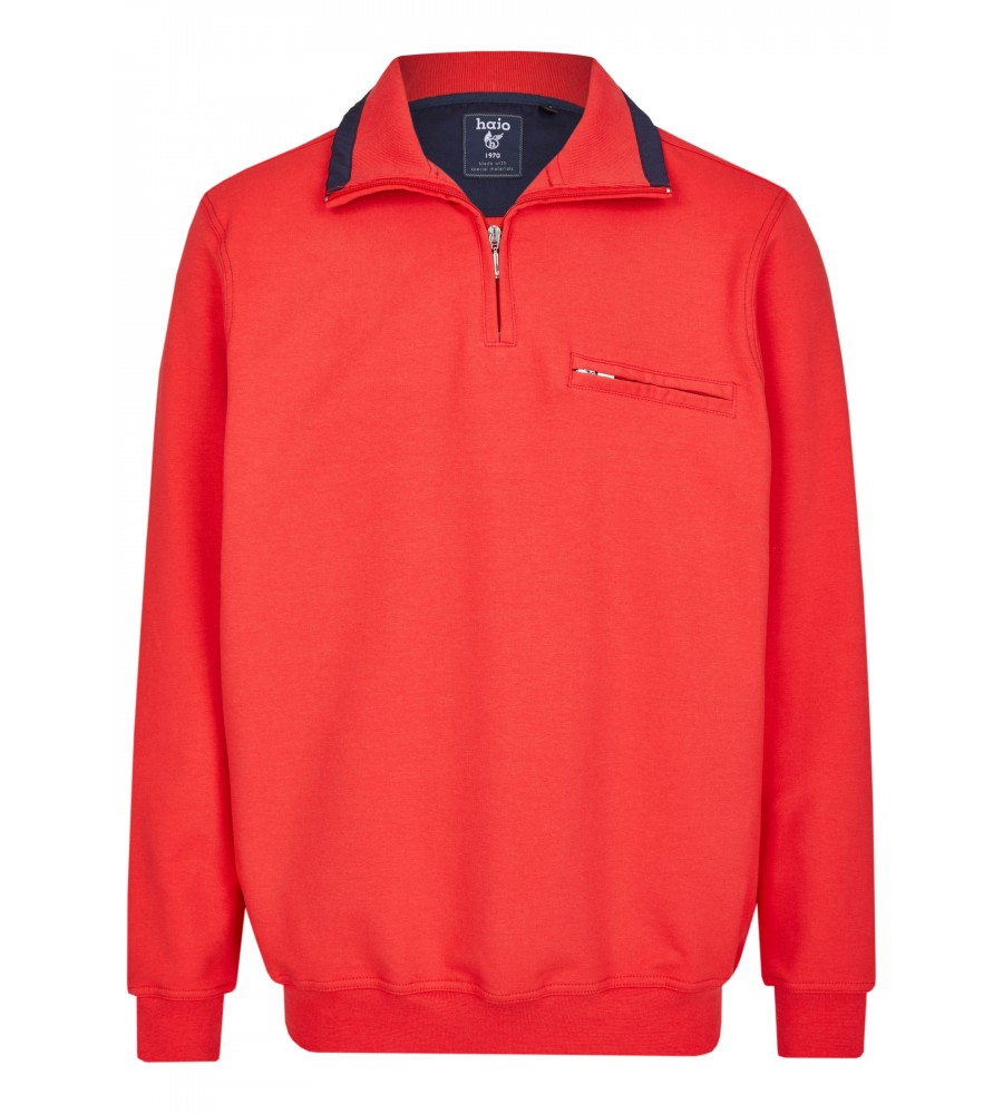 Sweatshirt mit Troyerkragen in großen Größen 20023-6X-373 front