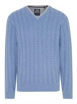 Baumwoll-Pullover mit Zopfmuster