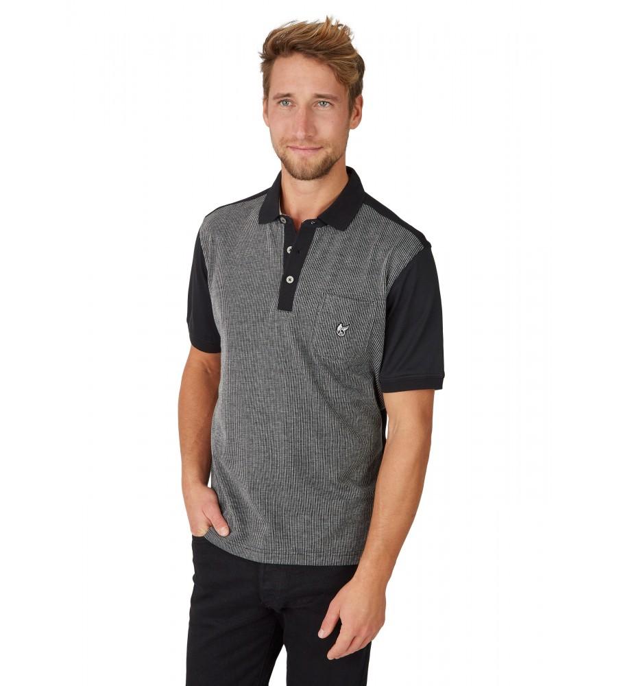 Poloshirt mit einem Vorderteil in Längsoptik 26633-100 front